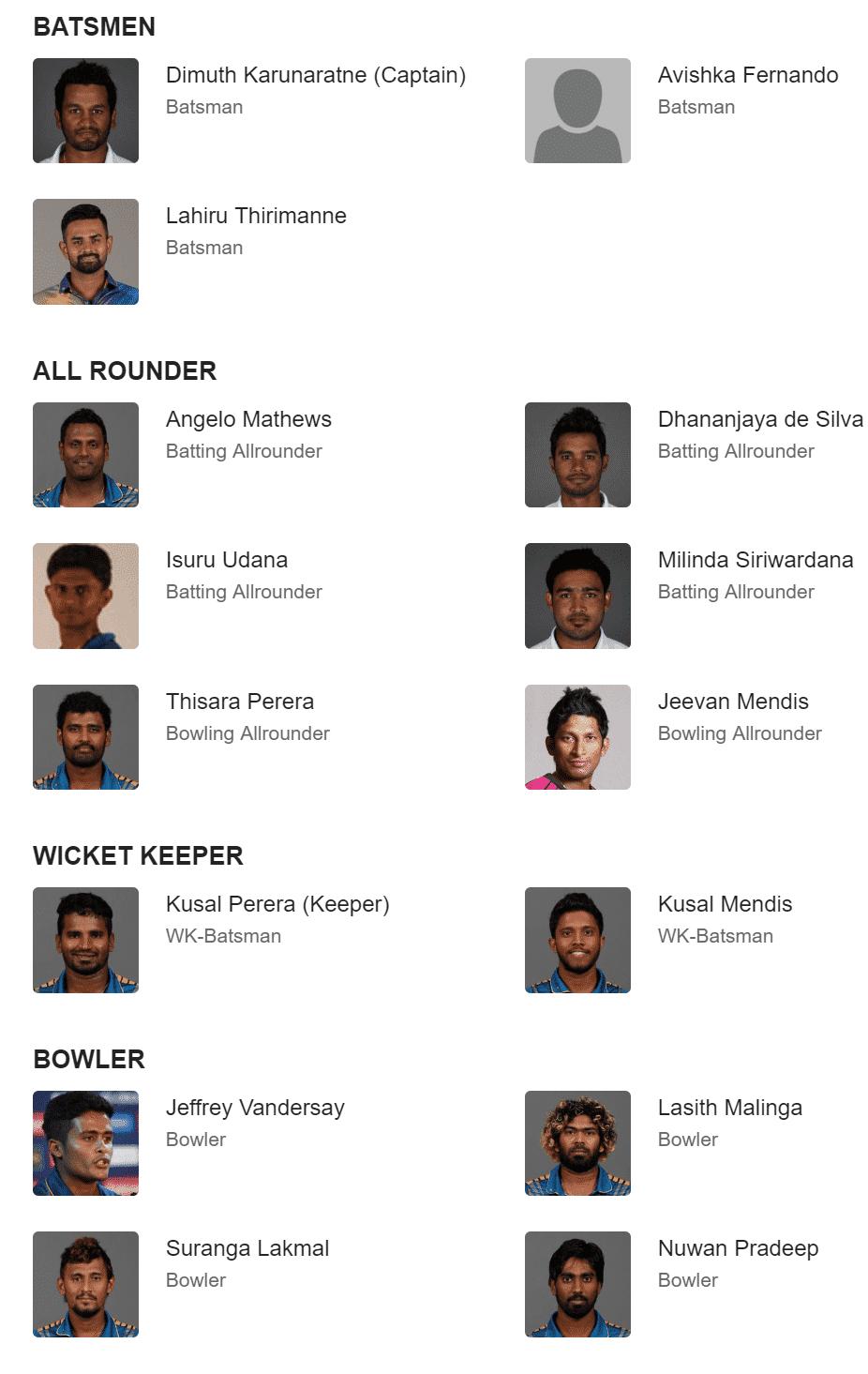 Sri Lanka team squad for cricket world cup 2019