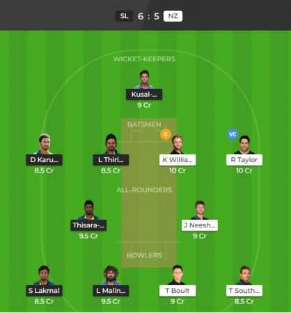 ICWC 2019 - New Zealand vs Sri Lanka Dream11