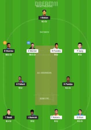 MI Vs SRH dream11 ipl 2020 team