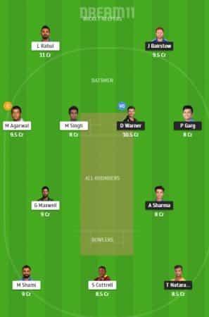 SRH Vs KXIP Dream11 Team 2