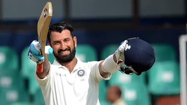 Cheteshwar Pujara scoring century against Sri Lanka