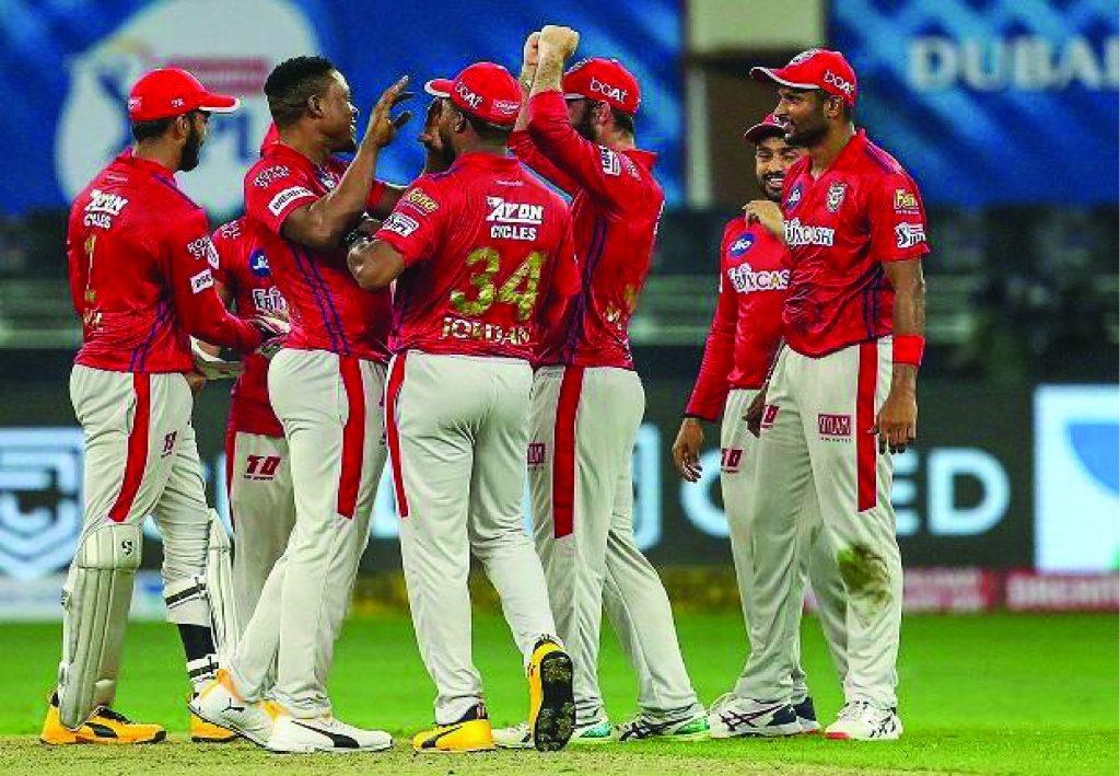 Kings XI Punjab(KXIP)  celebrating wicket