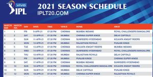 VIVO IPL 2021: Schedule PDF and ALL Team Schedule Image Download