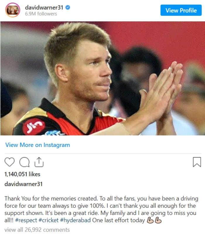 David Warner wrote an emotional note for his supporters and fans.